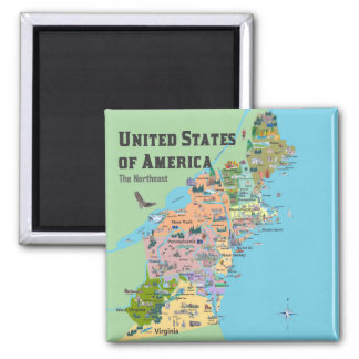 United States of America North East Map Magnet