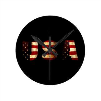United States of America Round Clock