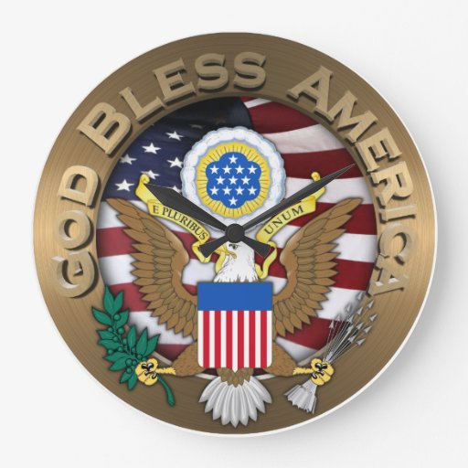 United States of America Seal - God Bless America Clock
