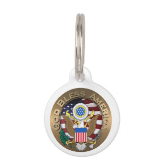 United States of America Seal - God Bless America Pet ID Tags