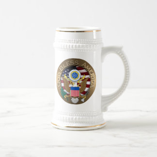 United States of America Seal - God Bless America 18 Oz Beer Stein