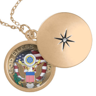 United States of America Seal - God Bless America Round Locket Necklace