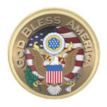 United States of America Seal - God Bless America Gold Finish Lapel Pin
