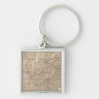 United States of America Silver-Colored Square Keychain