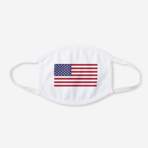 United States of America USA American Flag White Cotton Face Mask