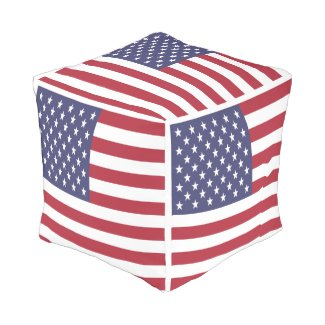 United States Of America USA Flag Cube Pouf