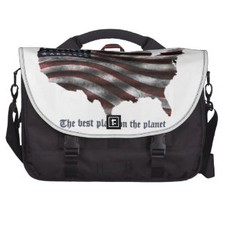 United States of America words, wavy flag and more Laptop Messenger Bag