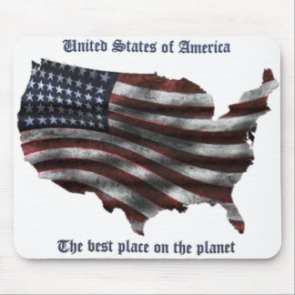 United States of America words, wavy flag and more Mouse Pad