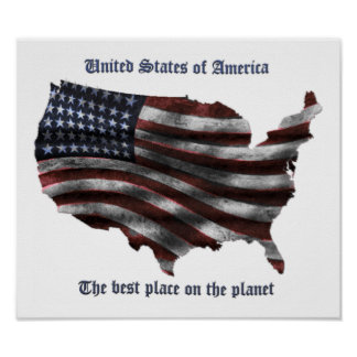 United States of America words, wavy flag and more Poster