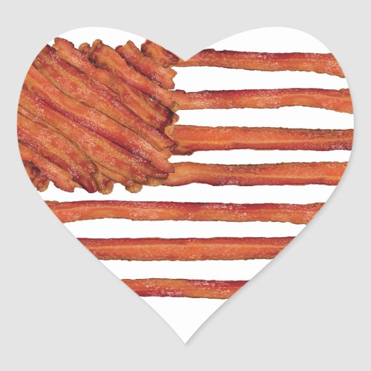 United States of Bacon Flag Heart Sticker