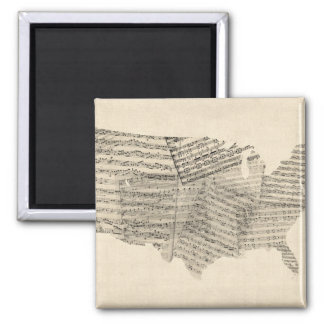 United States Old Sheet Music Map 2 Inch Square Magnet