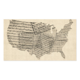 United States Old Sheet Music Map Business Card Templates