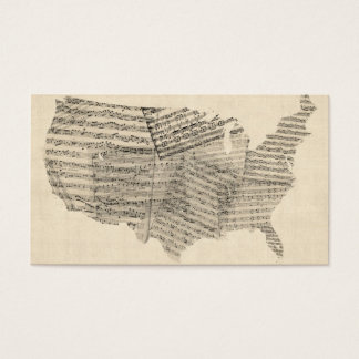United States Old Sheet Music Map Business Card