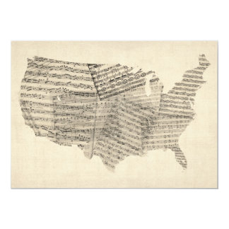 United States Old Sheet Music Map Personalised Invites
