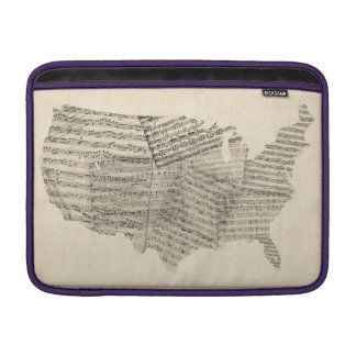 United States Old Sheet Music Map Sleeve For MacBook Air