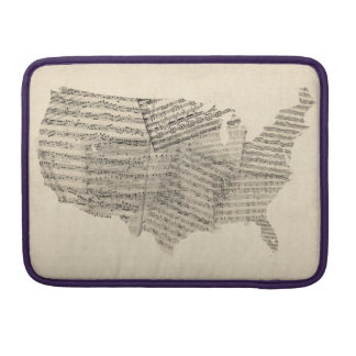 United States Old Sheet Music Map Sleeves For MacBooks