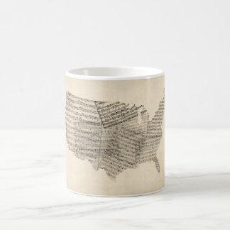 United States Old Sheet Music Map Coffee Mugs