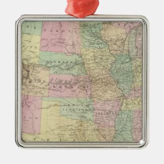 United States Square Metal Christmas Ornament