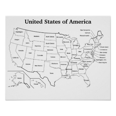 Customizable United States Blank Outline Map Poster | Zazzle.com