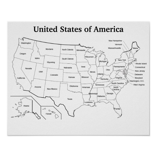 United States Outline Map With State Names Poster