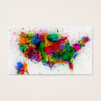 United States Paint Splashes Map Business Card