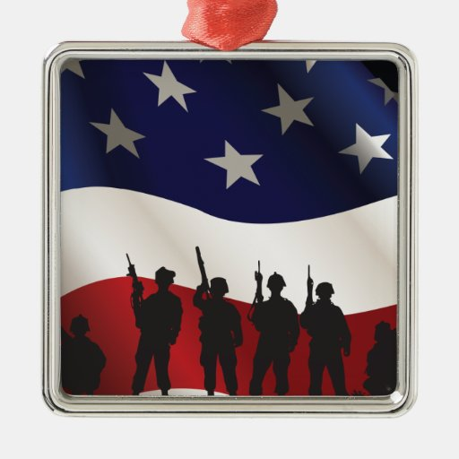 United States, Patriot, Flag and Military Christmas Ornament