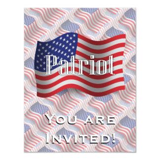 United States Patriot Waving Flag 4.25x5.5 Paper Invitation Card