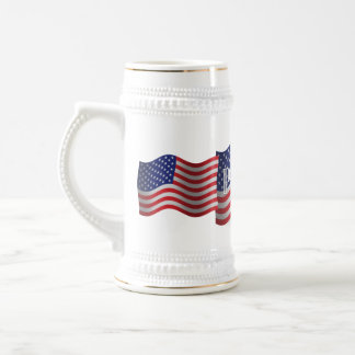 United States Patriot Waving Flag Beer Stein