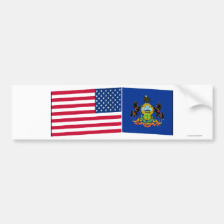 United States & Pennsylvania Flags Bumper Stickers