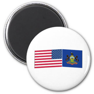 United States & Pennsylvania Flags Magnet