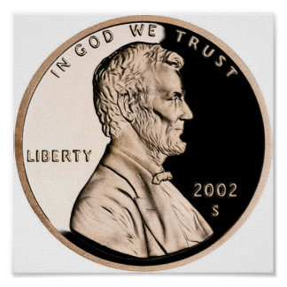 United States Penny Obverse 2002 S Mint Poster