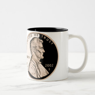 United States Penny Obverse 2002 S Mint Two-Tone Coffee Mug