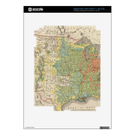 United States Population Density, 1890 iPad 3 Decal