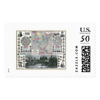 United States Presidents Map - 1859 Postage