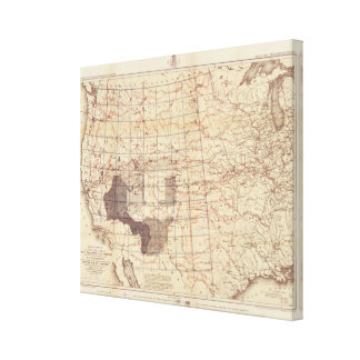 United States Progress Map of Routes and Stations Canvas Print
