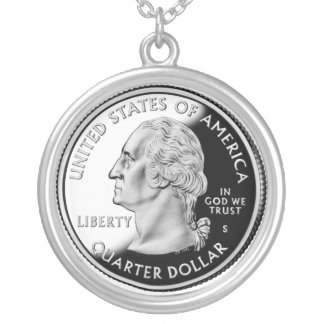 United States quarter Silver Plated Necklace