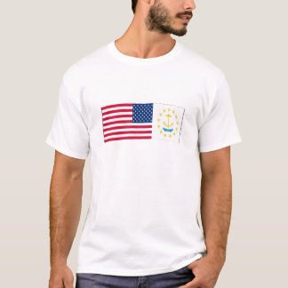 United States & Rhode Island Flags T-Shirt
