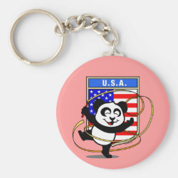 Basic Button Keychain with USA Rhythmic Gymnastics Panda design