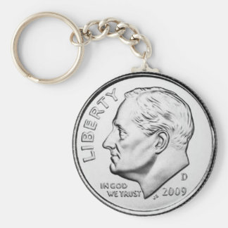 United States Roosevelt Dime Basic Round Button Keychain