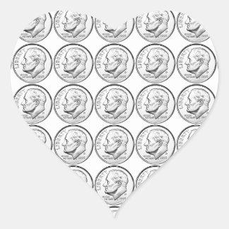 United States Roosevelt Dime Heart Sticker