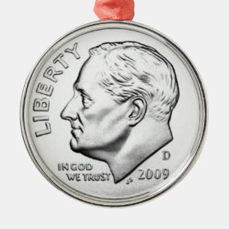 United States Roosevelt Dime Metal Ornament
