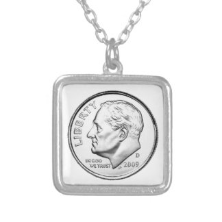 United States Roosevelt Dime Square Pendant Necklace