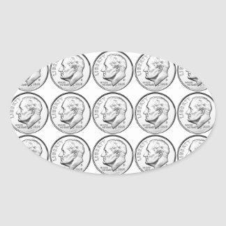 United States Roosevelt Dime Oval Sticker