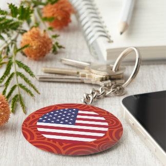 United States round flag Basic Round Button Keychain