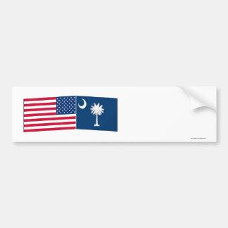 United States & South Carolina Flags Bumper Sticker