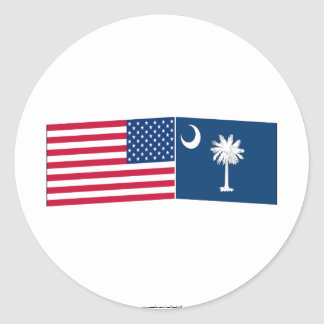 United States & South Carolina Flags Round Sticker