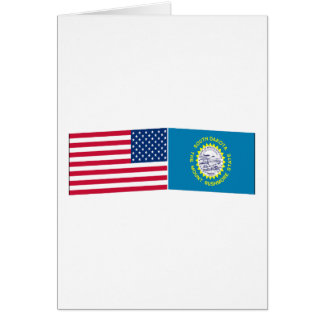 United States & South Dakota Flags Greeting Card