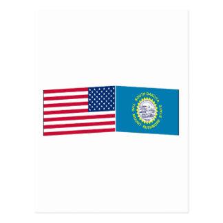 United States & South Dakota Flags Postcards