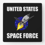 United States Space Force Funny Square Wall Clock