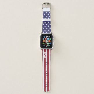 United States Stars And Stripes Personalized Apple Watch Band